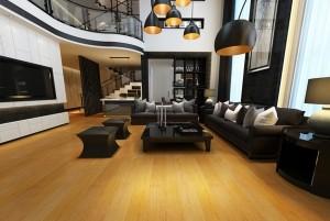 Mẫu sàn gỗ biệt thự màu vàng xoan đào
