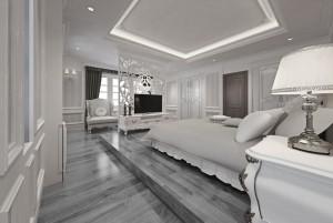 Mẫu sàn gỗ chung cư màu ghi đá