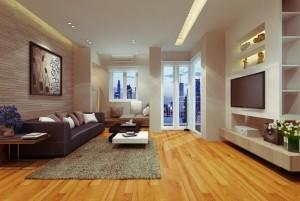 Mẫu sàn gỗ chung cư màu vàng xoan đào