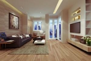 Mẫu sàn gỗ chung cư màu hạt dẻ