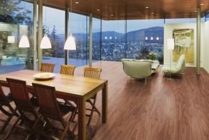 Mẫu sàn gỗ văn phòng màu óc chó
