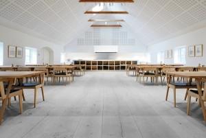 Mẫu sàn gỗ lớp học màu ghi đá