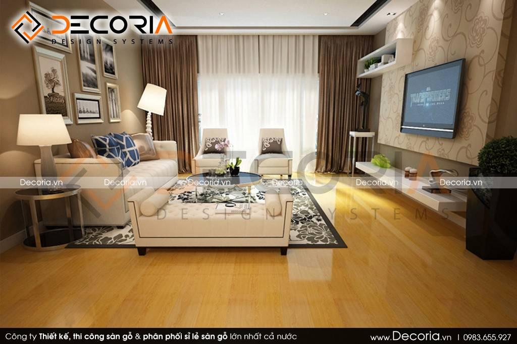 Mẫu thiết kế sàn gỗ công nghiệp giá rẻ nhà phố