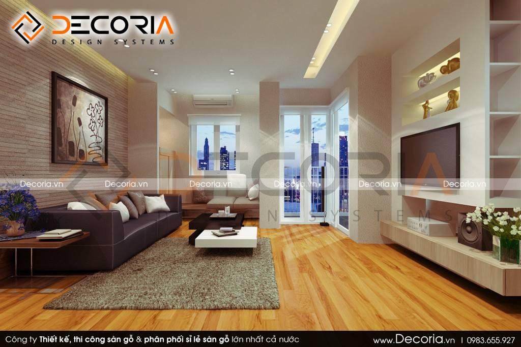 Mẫu thiết kế sàn gỗ công nghiệp cao cấp phòng khách