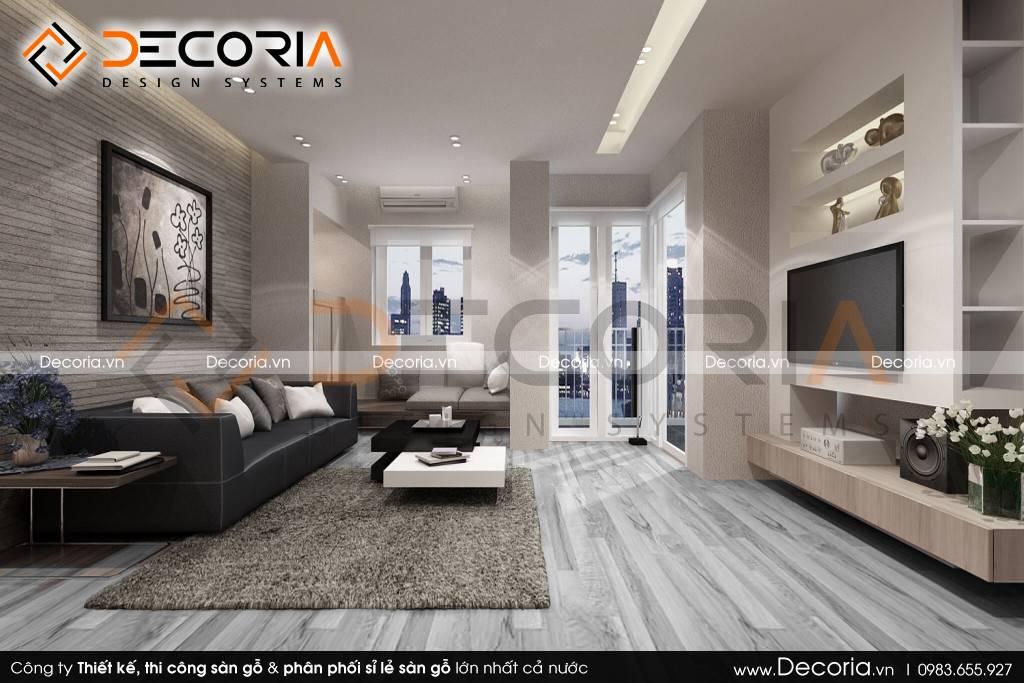 Mẫu thiết kế sàn gỗ công nghiệp giá rẻ cho phòng khách