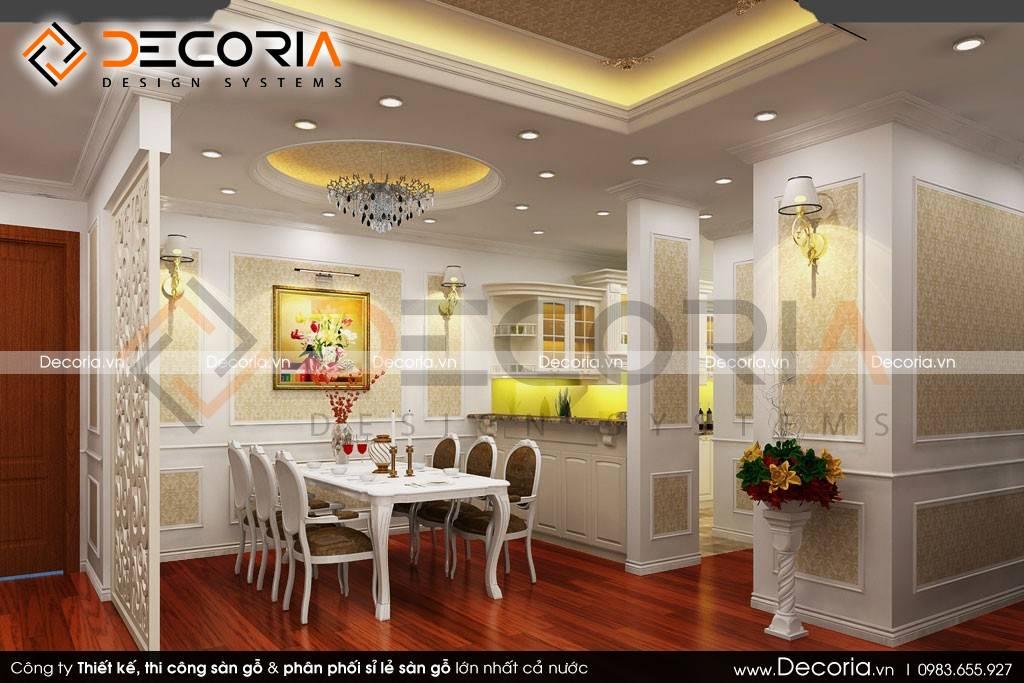 Mẫu thiết kế sàn gỗ công nghiệp cao cấp phòng ăn