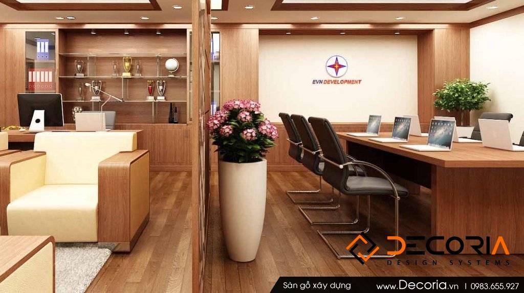 Mẫu thiết kế sàn gỗ công nghiệp cao cấp văn phòng làm việc