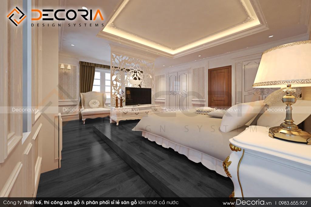 Mẫu sàn gỗ chung cư màu đen